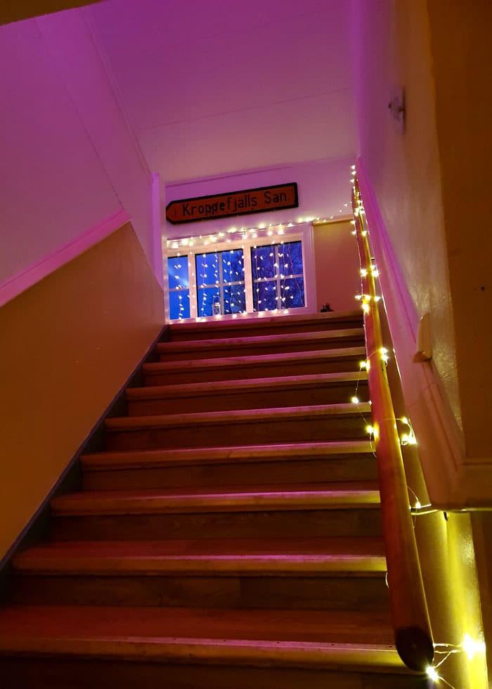 Festlokalen på Kroppefjäll Bed & Breakfast har flera våningar. Dals Rostock, Mellerud, Dalsland.
